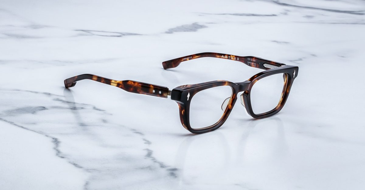 Angled view of the Jacques Marie Mage Artaud eyeglasses in colorway Havana