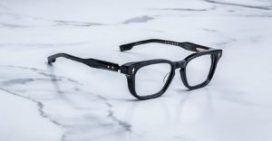Angled view of the Jacques Marie Mage Artaud eyeglasses in colorway Midnight