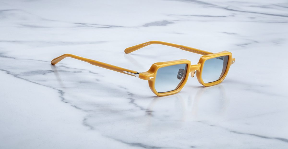 angled view of the Jacques Marie Mage The Astaire sunglasses in Mustard