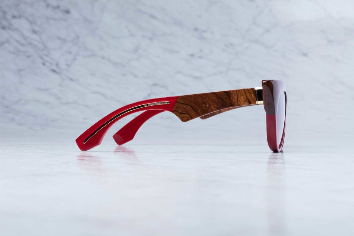 Side view of the Jacques Marie Mage Edith style sunglasses in colorway Burlwood