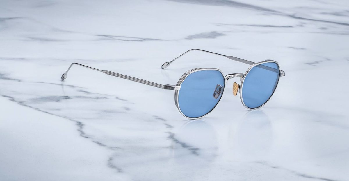 Angled view of the Jacques Marie Mage Fontana style sunglasses in silver