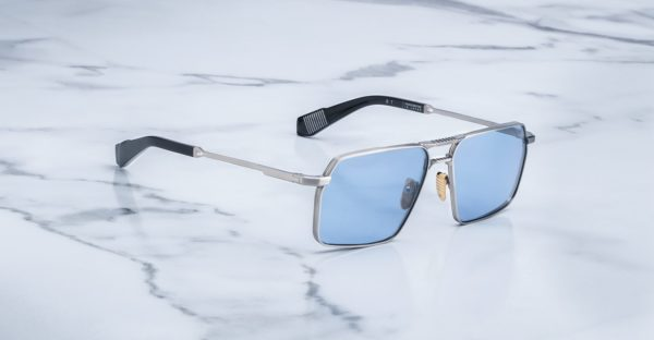 Angled view of the Angled view of the Jacques Marie Mage GT style sunglasses in colorway Antique