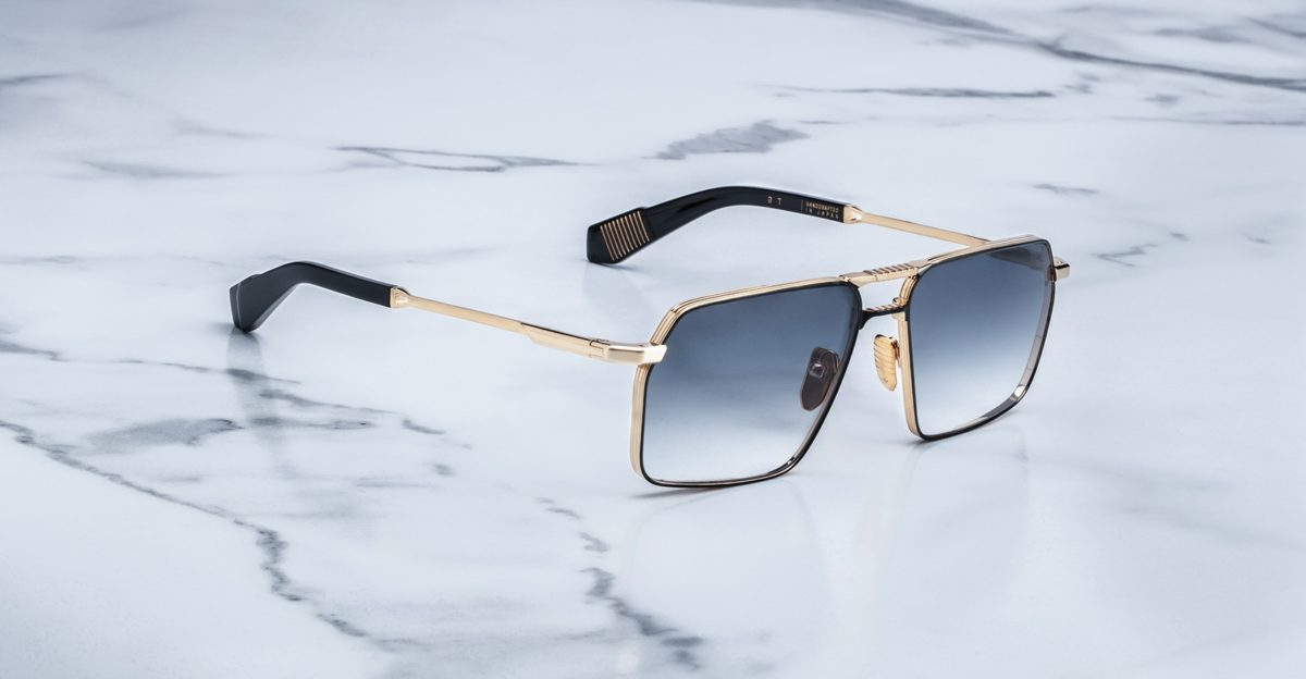 Angled view of the Jacques Marie Mage GT style sunglasses in colorway JPS