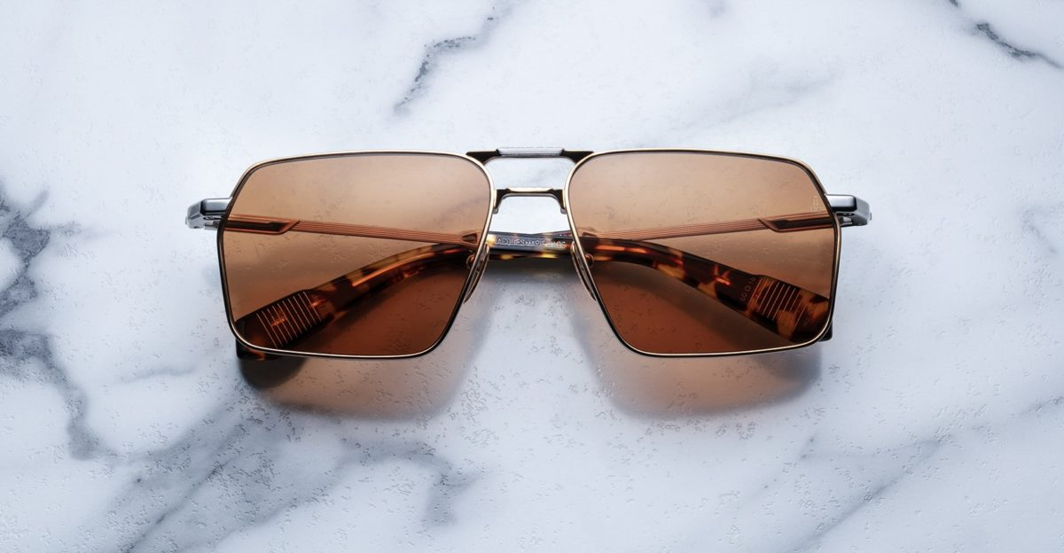 Angled view of the Angled view of the Jacques Marie Mage GT style sunglasses in colorway Solar