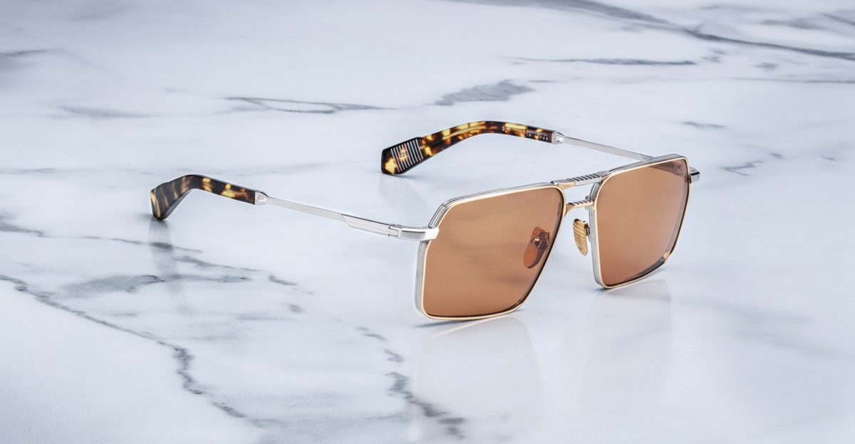 Angled view of the Angled view of the Angled view of the Jacques Marie Mage GT style sunglasses in colorway Solar