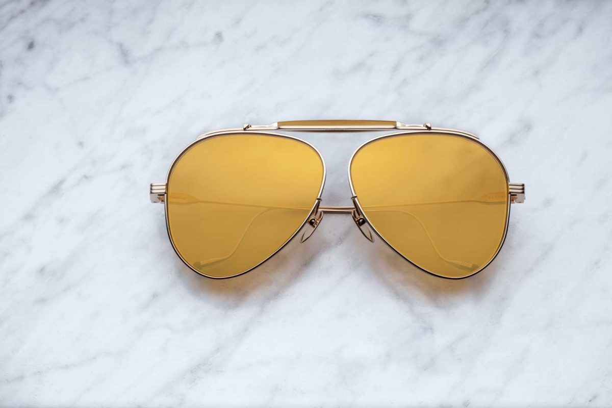 Jacques Marie Mage Geronimo Aviator style sunglasses in colorway Mandarin JMMGE-43