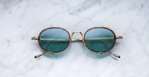Jacques Marie Mage Rex style sunglasses with sideshields in Gold