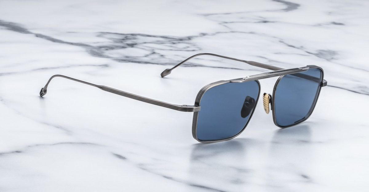 Angled view of the Jacques Marie Mage Scarpa Sunglasses in colorway Antique