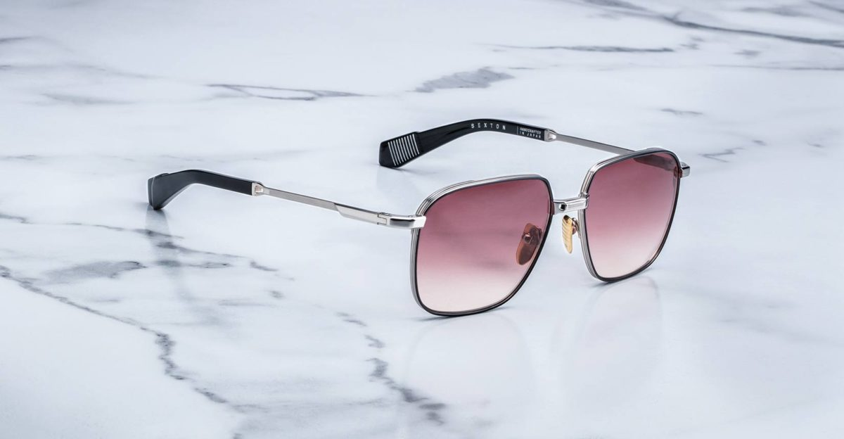 Angled view of the Jacques Marie Mage Sexton style sunglasses in colorway Silverfox