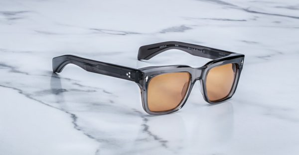 Angled view of the Jacques Marie Mage Torino sunglasses in colorway Tempest