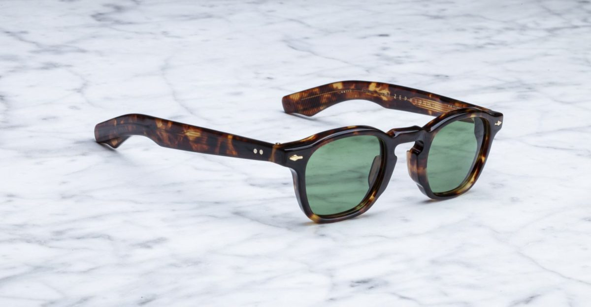 Angled view of the Jacques Marie Mage Zephirin style sunglasses in colorway Havana 4
