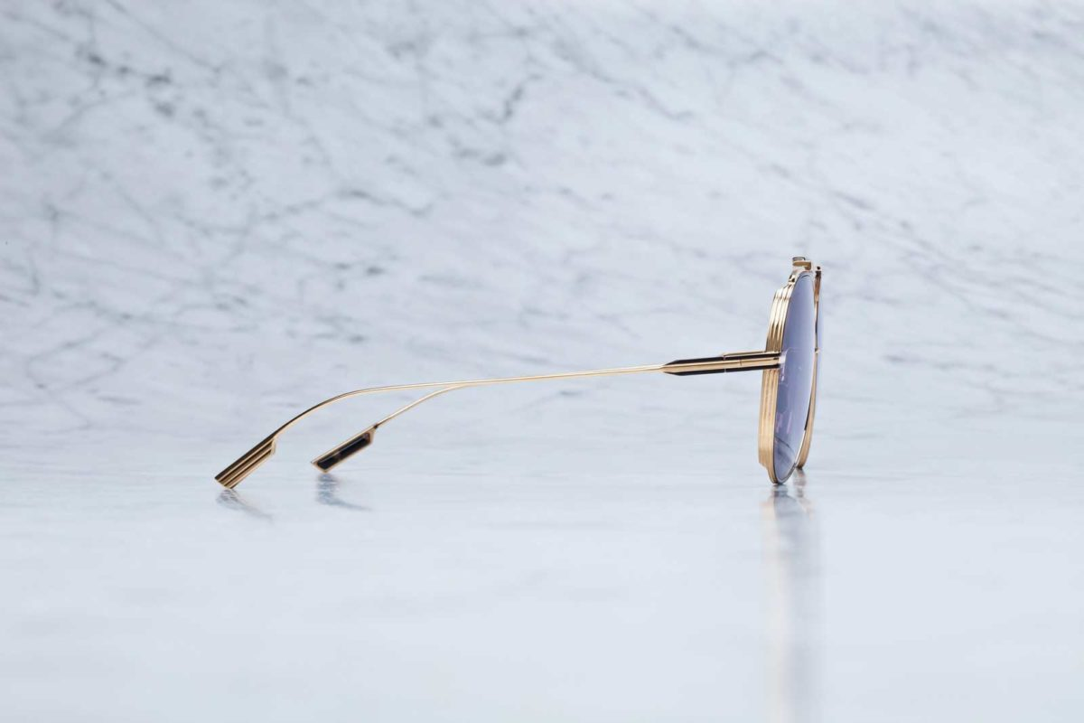 Side view of the Jacques Marie Mage Cochise aviator style sunglasses in colorway JPS