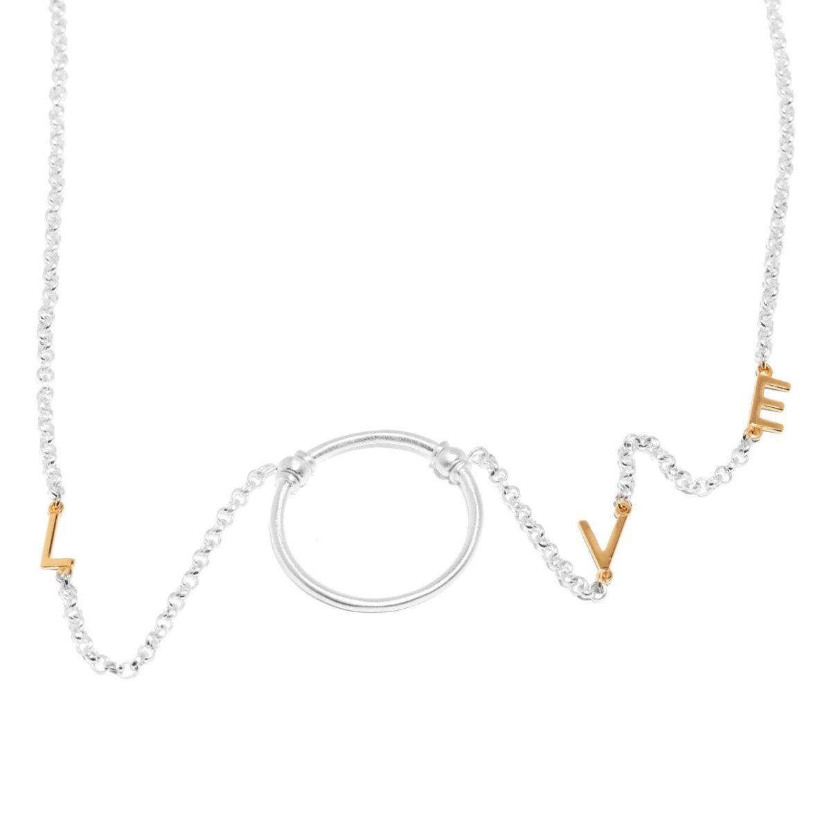 Love Letter eyeglass necklace by La Loop in Satin Silver