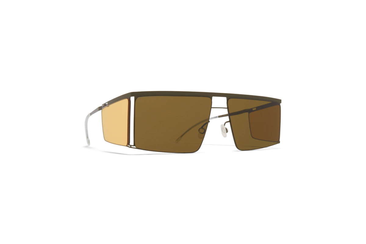 Mykita x Helmut Lang HL001 in color 870 Camo Green with Jelly Yellow Sides 1509524