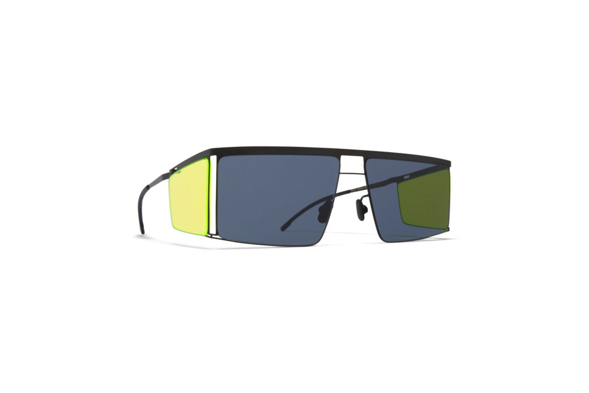 Mykita x Helmut Lang HL001 in color 875 Black with Yellow Fluo Sides 1509525